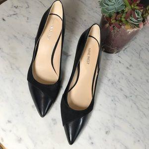 Nine West Black Pointed Toe Caviar Pumps Heels 9.5